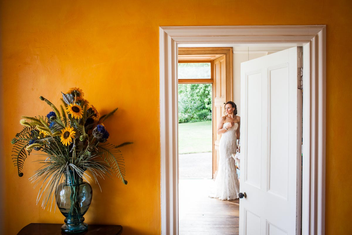 bridal portrait with sunflowers