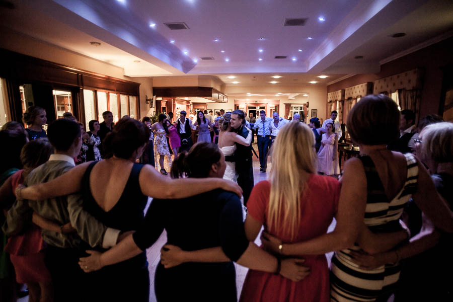 Bride And Groom Hug During Last Dance Vanishing Moments