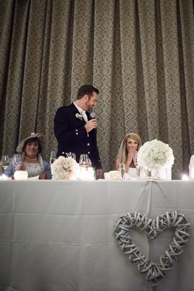 Bride is suprised and laughing