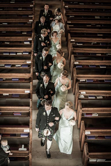 the wedding party in Dunblane Cathedral