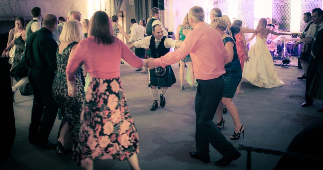 wedding guests enjoying the dancing