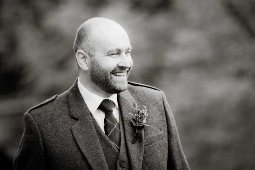 laughing bride groom