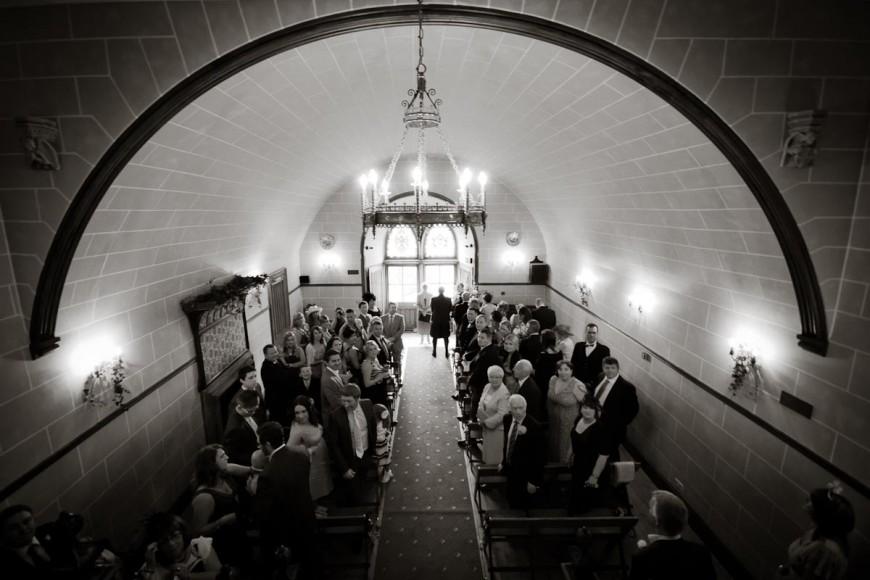 wedding guests await entrance of bride at dalhousie castle