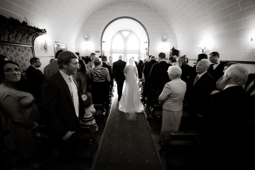 entrance of bride at dalhousie castle wedding
