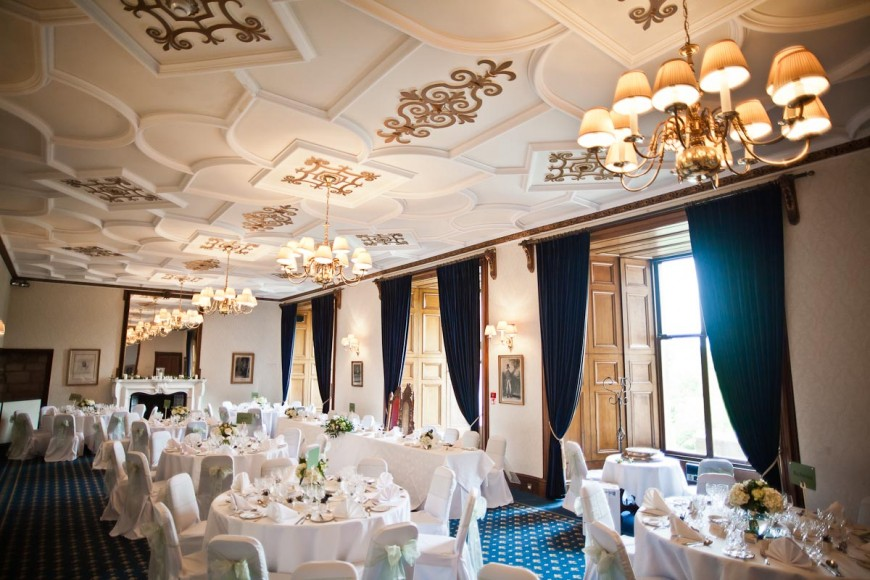 dining room set for wedding breakfast at dalhousie castle