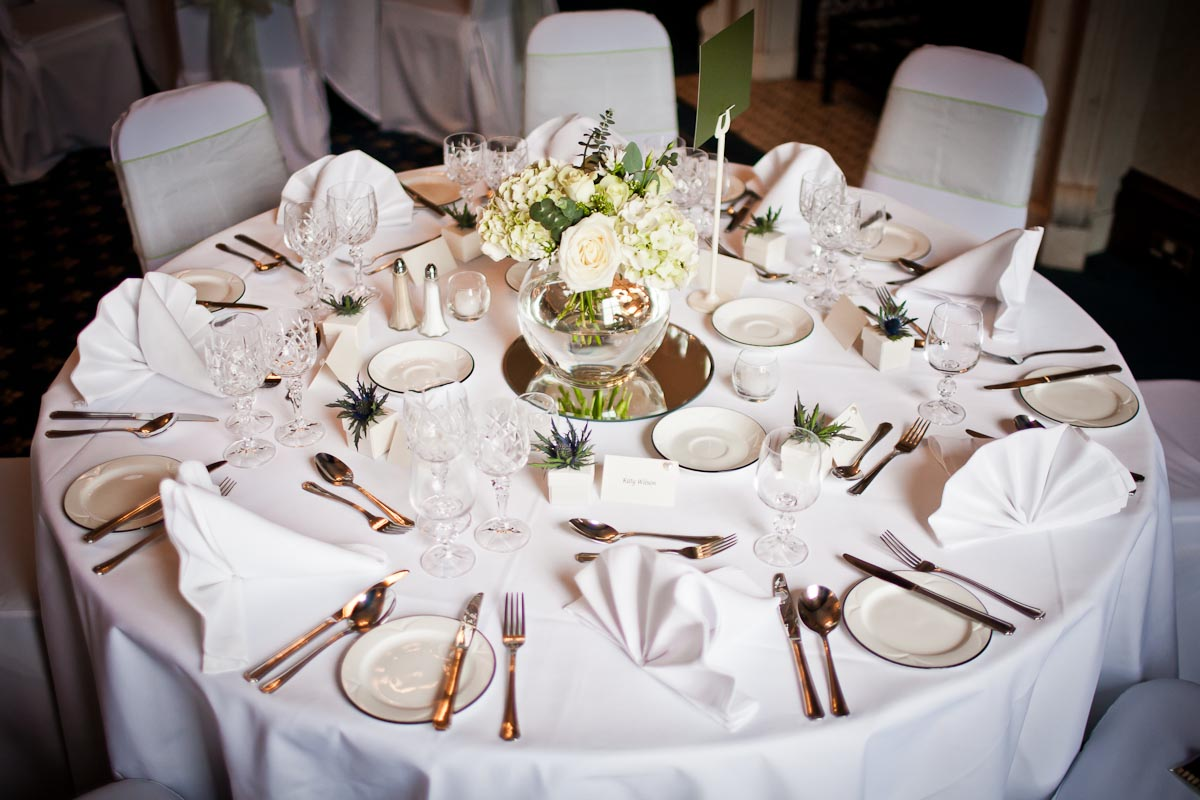 table set beautiully for wedding breakfast