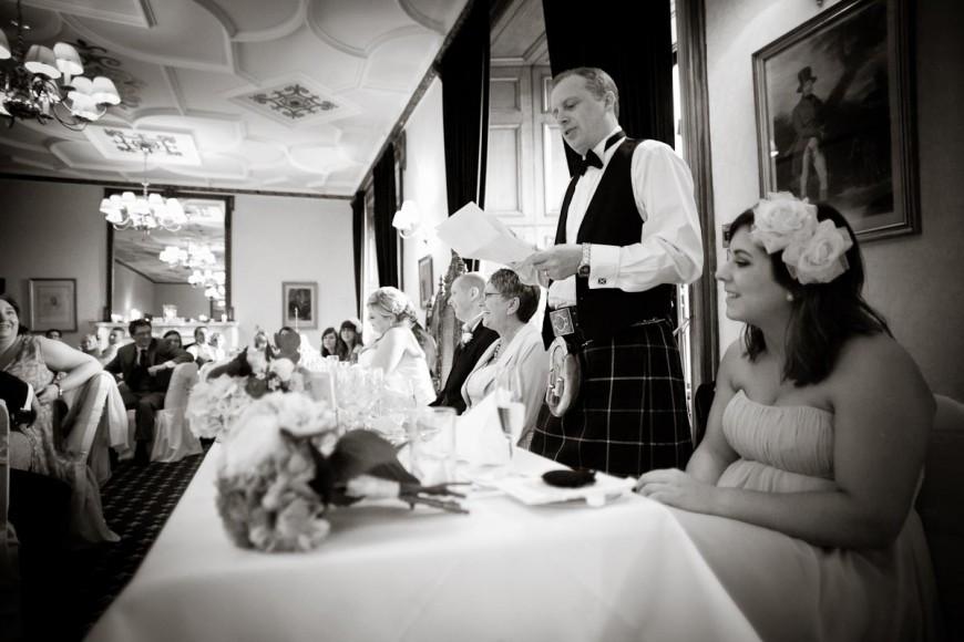 top table ruring best man's speech at scottish wedding at dalhousie castle