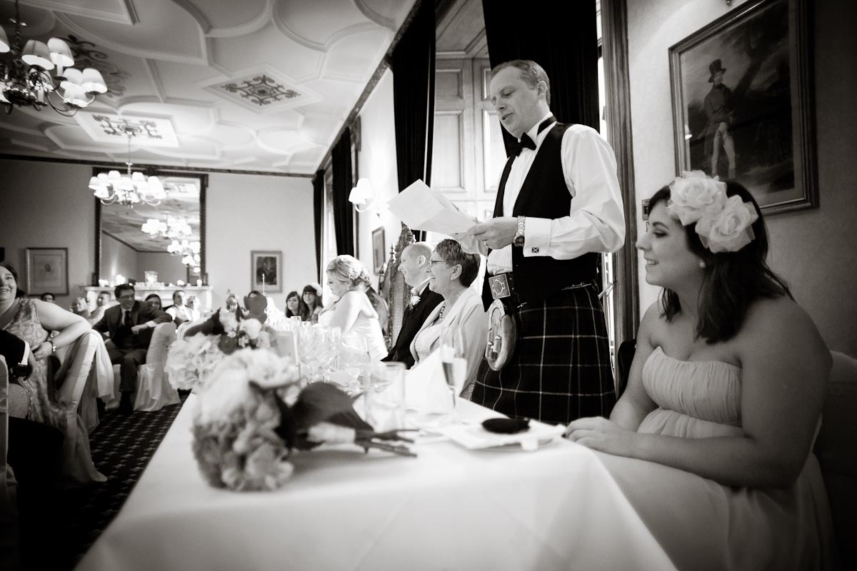top table ruring best man's speech at scottish wedding at dalhousie castle