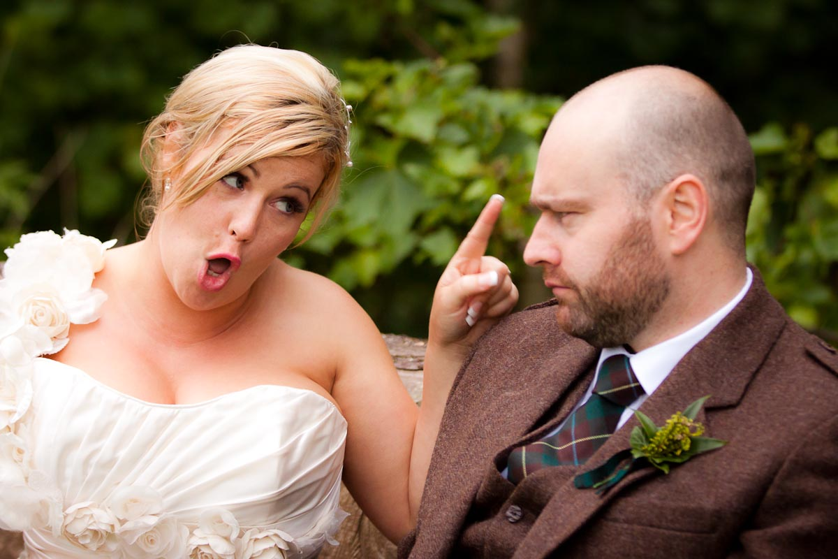 bride scolds groom at wedding