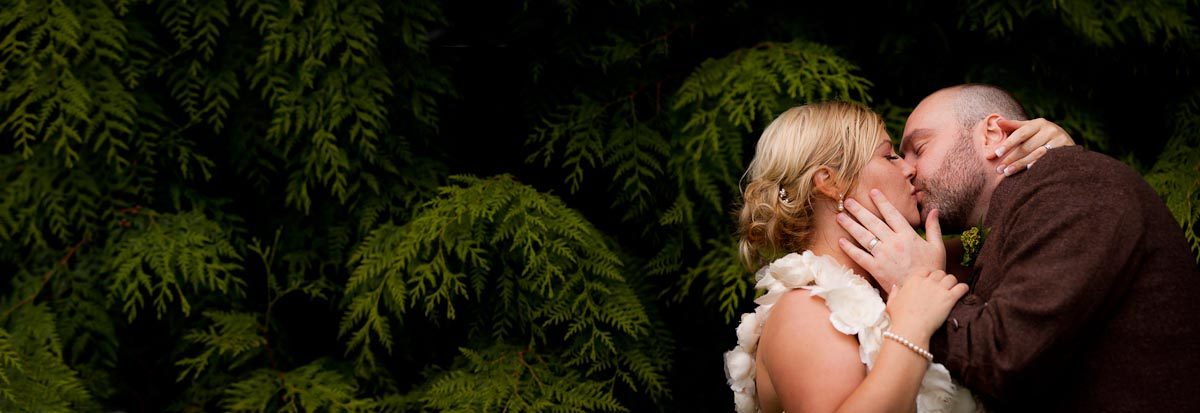 bride and groom kiss in bushes