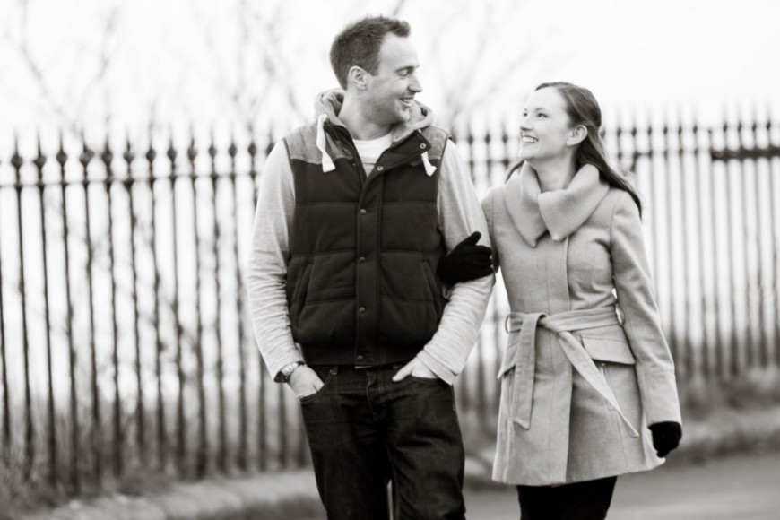 engagement photography walking in st andrews