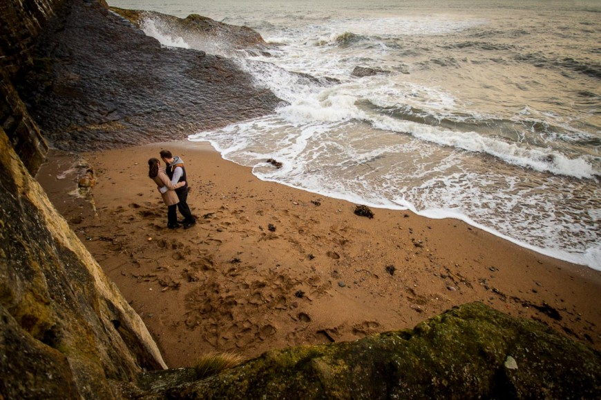 engagement photography st andrews beach from above
