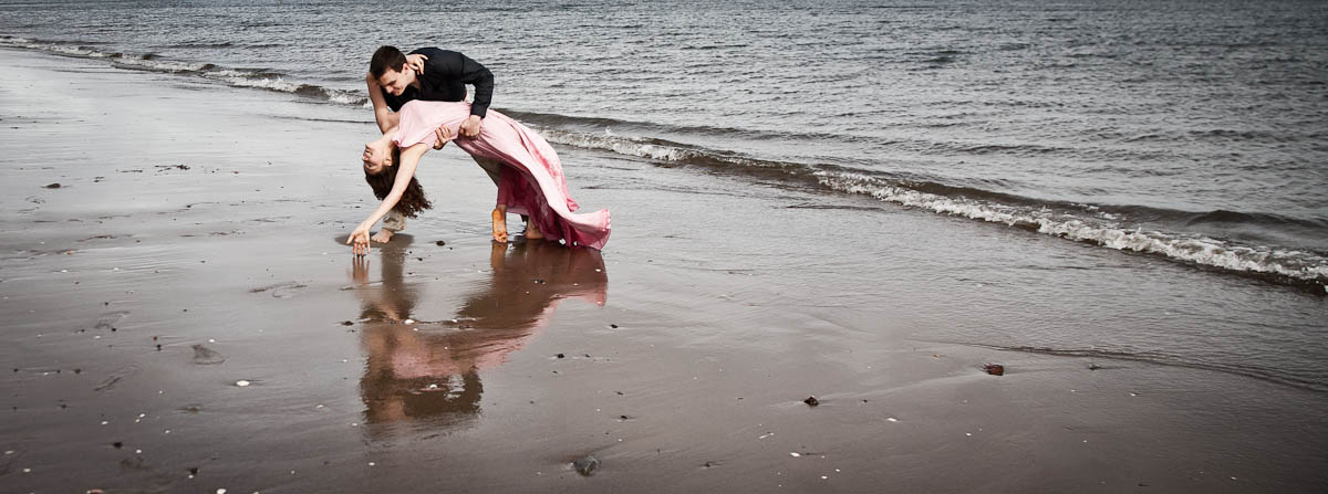 engagement photography portobello beach bend over backwards
