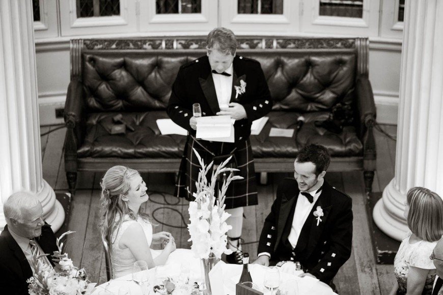 best man's speech causes smiles at wedding in signet library edinburgh