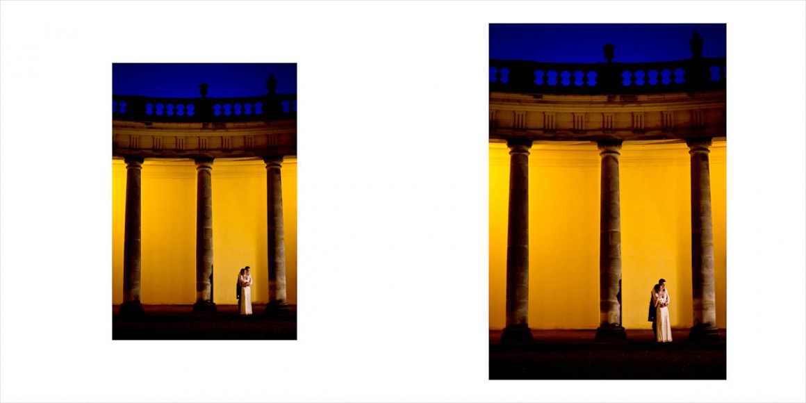 Bride and groom at Hopetoun House at night