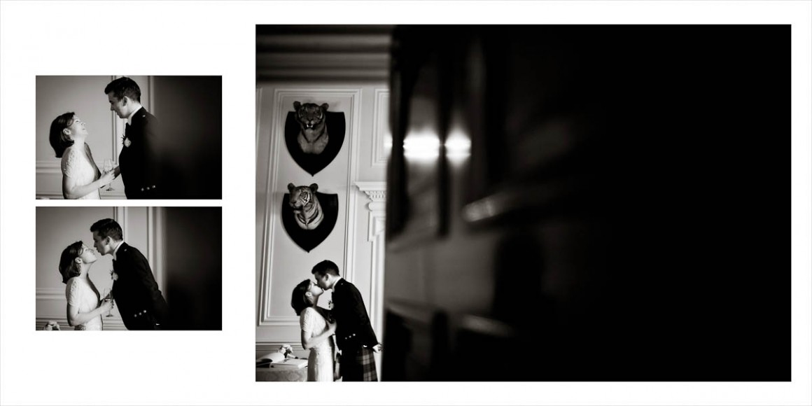Bride and groom kiss in black and white