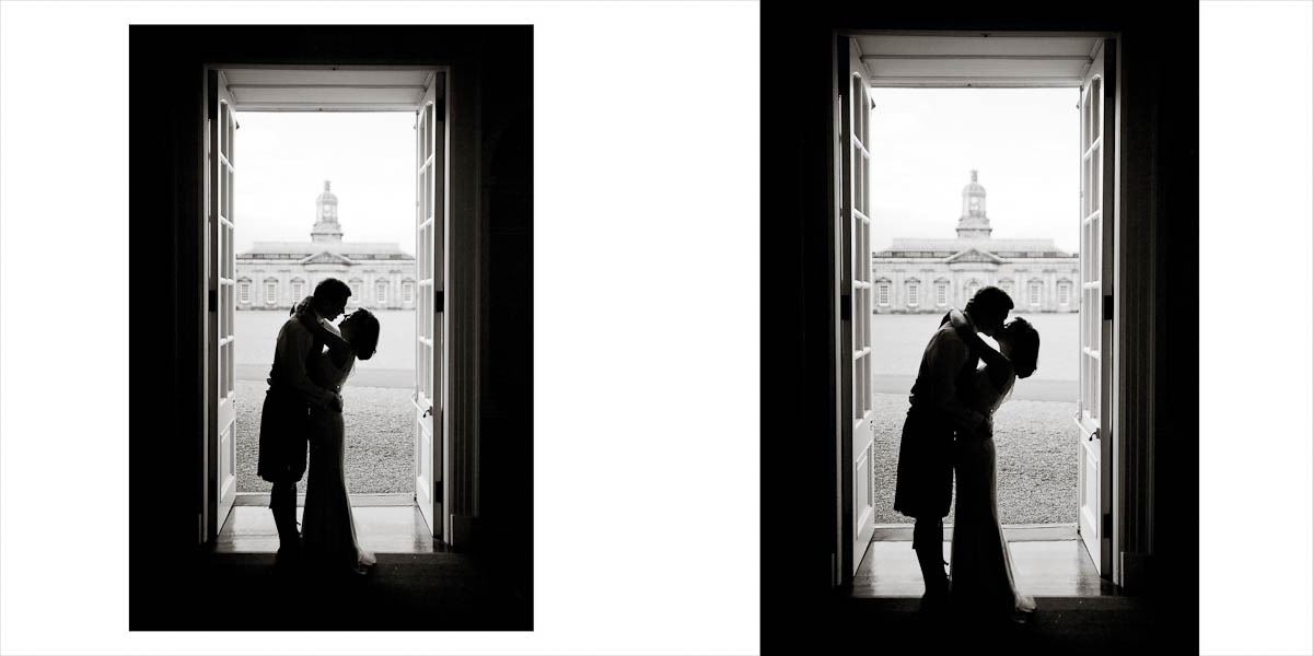 Bride and Groom Silhouette at hopetoun house