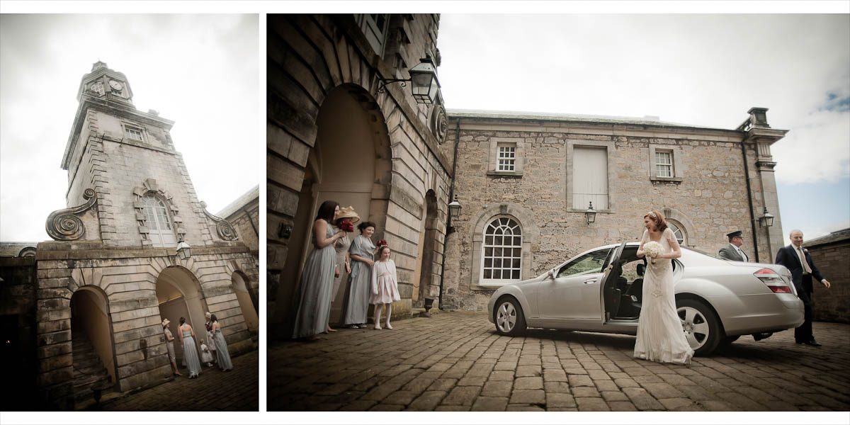 Bride arrives at wedding at hopetoun house
