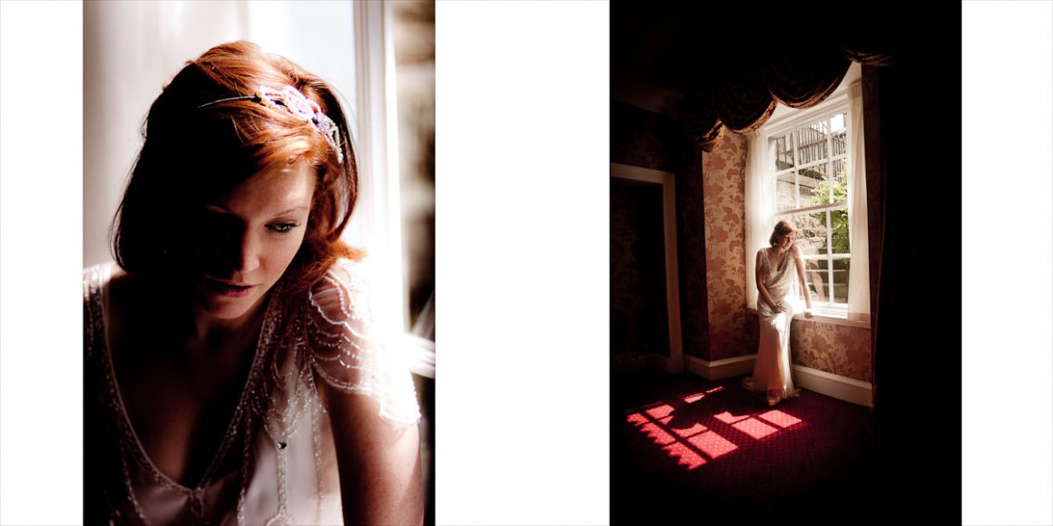 Bride in beautiful lighting beside window