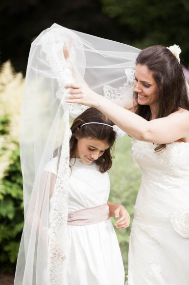 bride and girl with veil