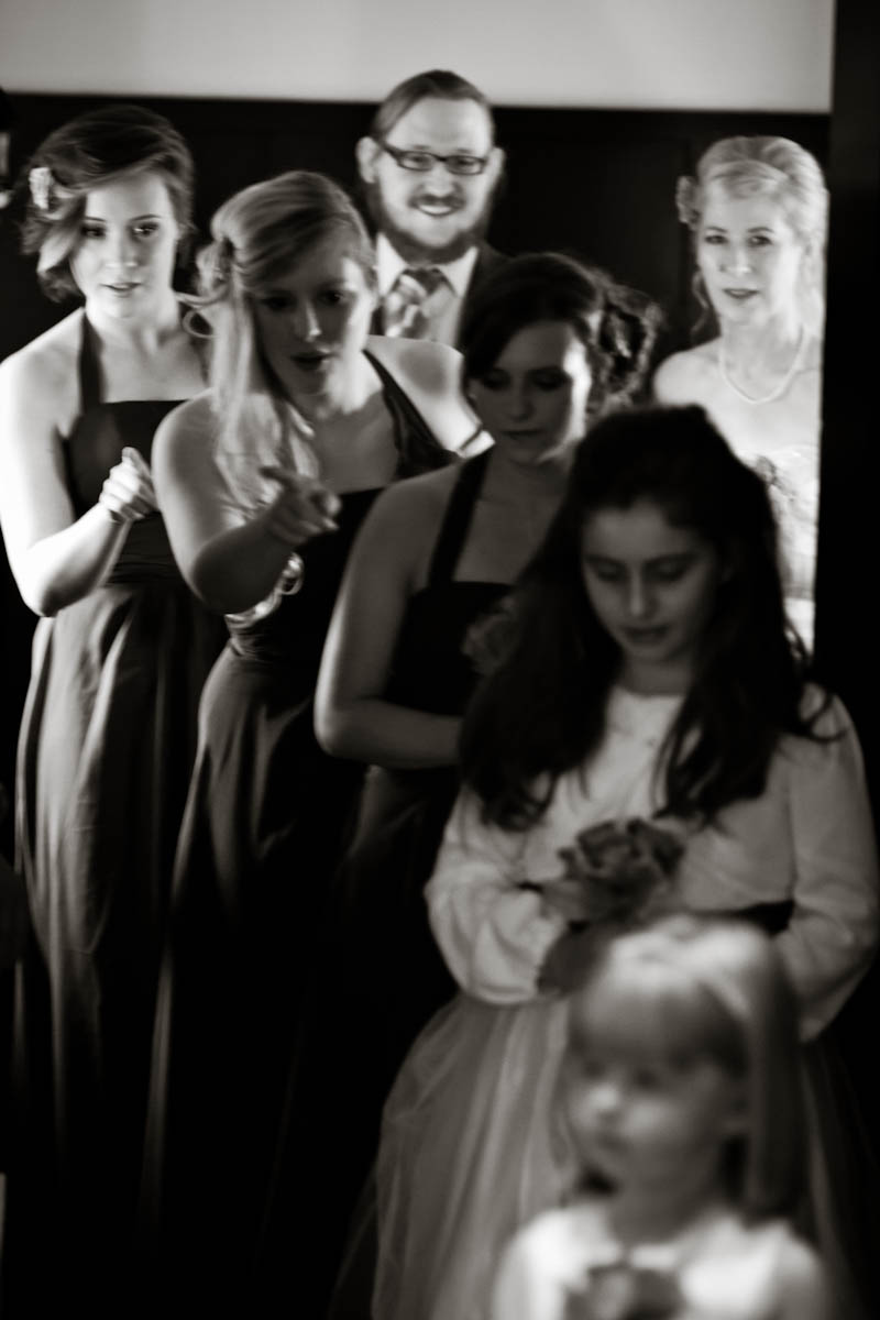 bridesmaids and flowers girls stand in line