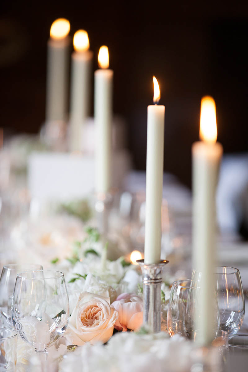 candles on table at wedding at drummuir castle