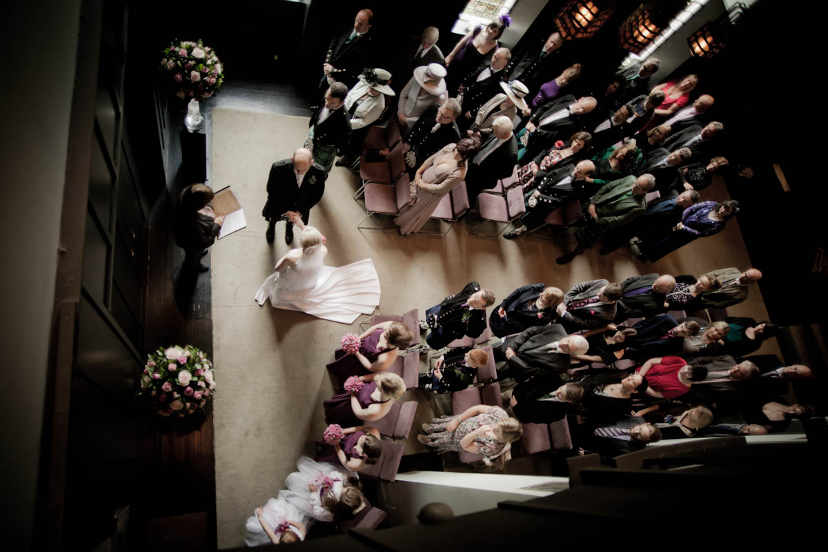 wedding cermony from above at house for an art lover in glasgow