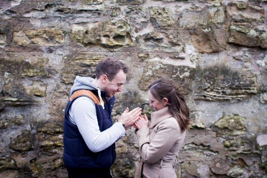 engagement photography st andrews waring cold hands