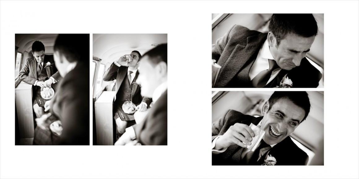 The groom into the wedding van