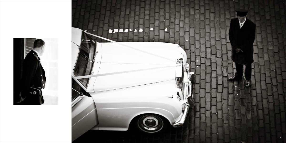 A white wedding car