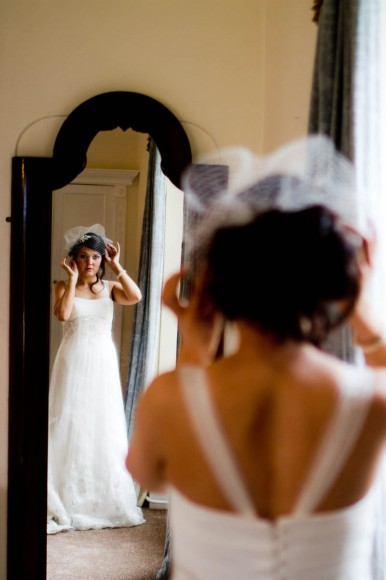 bride gets reay mirror hat