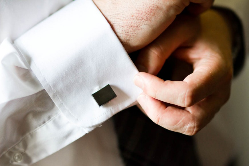 groom gets ready cuff links