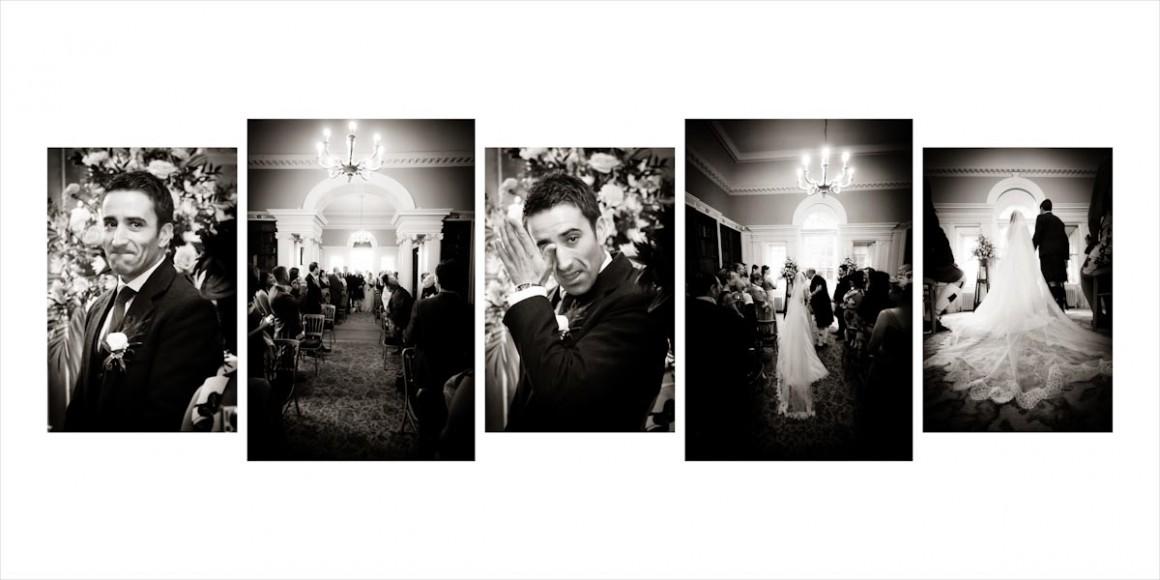 An emotive groom saws his bride