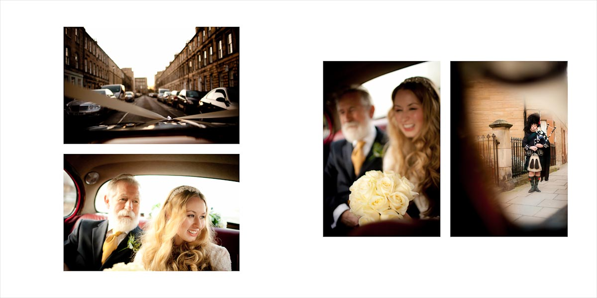 The bride and her father into the car