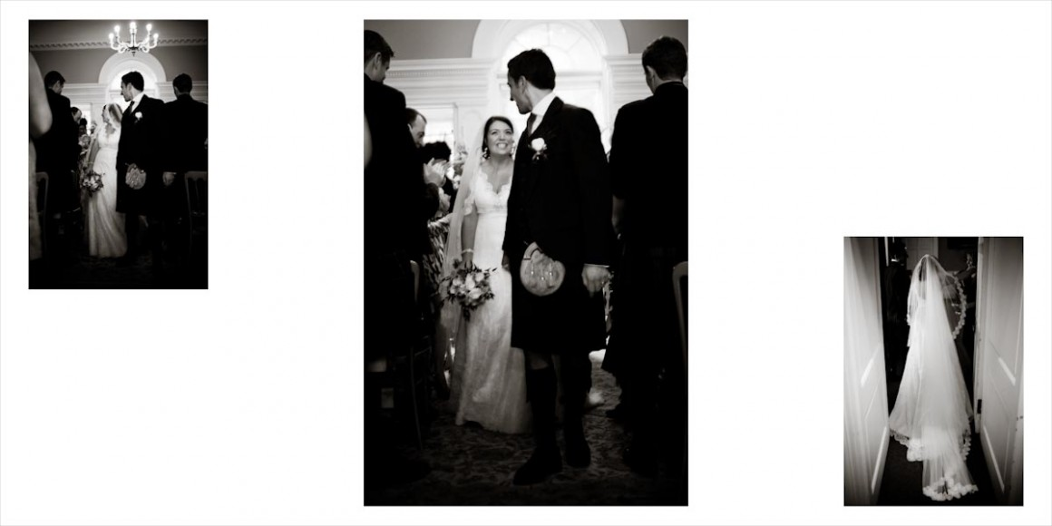The groom holds his brides hand