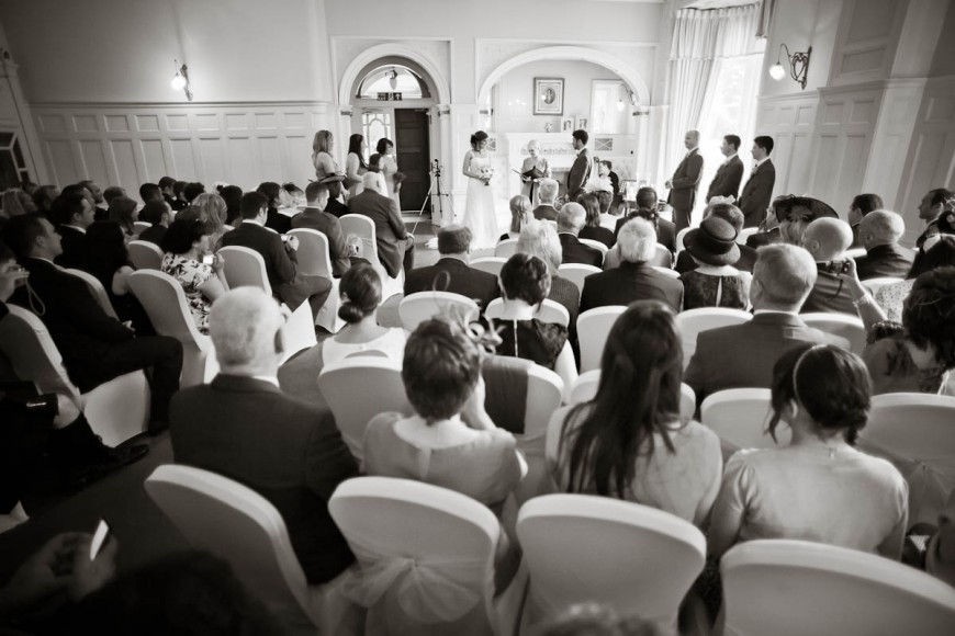 wedding ceremony at solsgirth housetaken from rear of hall