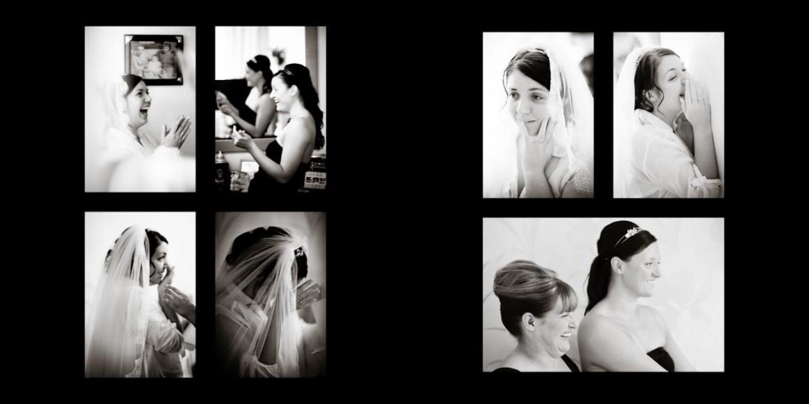 The bridesmaids help their bride