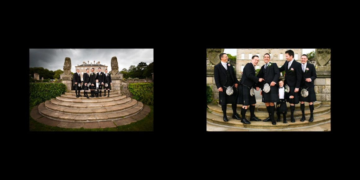 The Pollok House's stairs with the groom and groomsmen