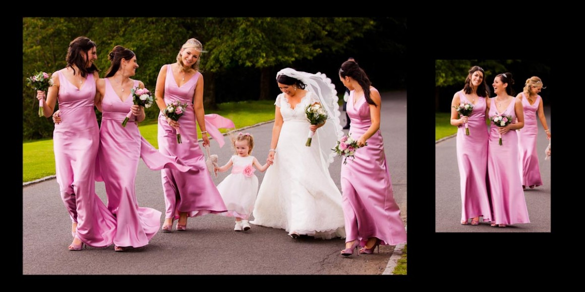 The bride and bridesmaid, playing with flower girl