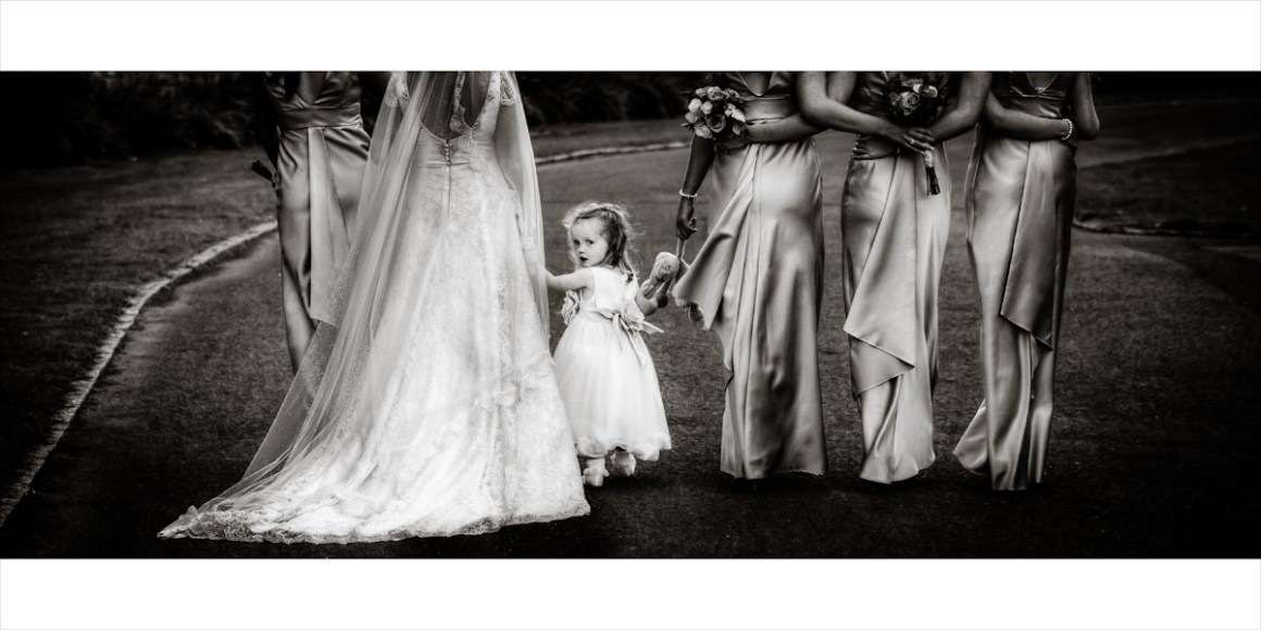 Bride and bridesmaid walking