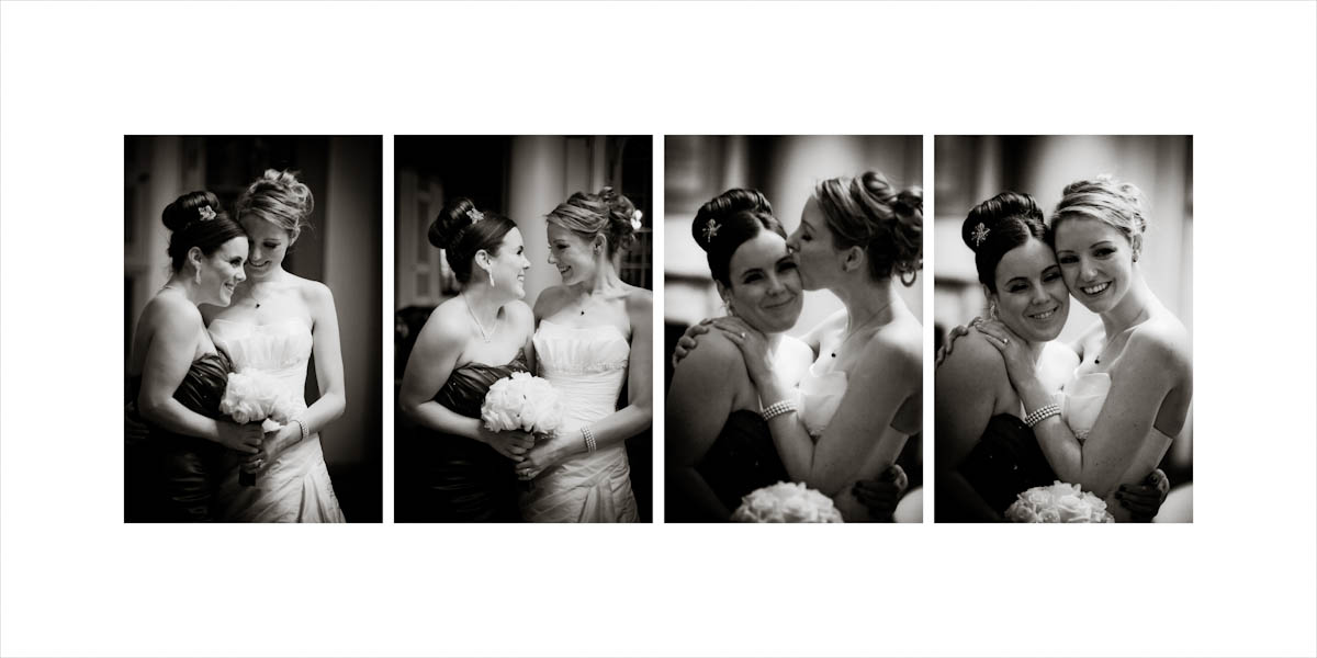The bride and the bride of honor have an affectionate time
