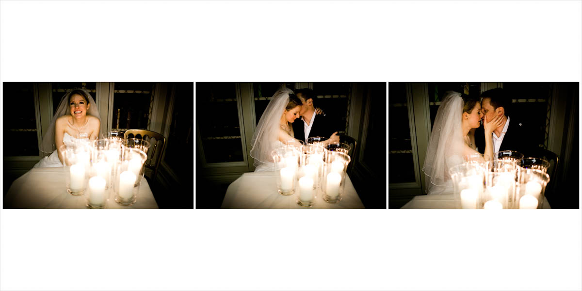 A cheerful bride at a lighted table