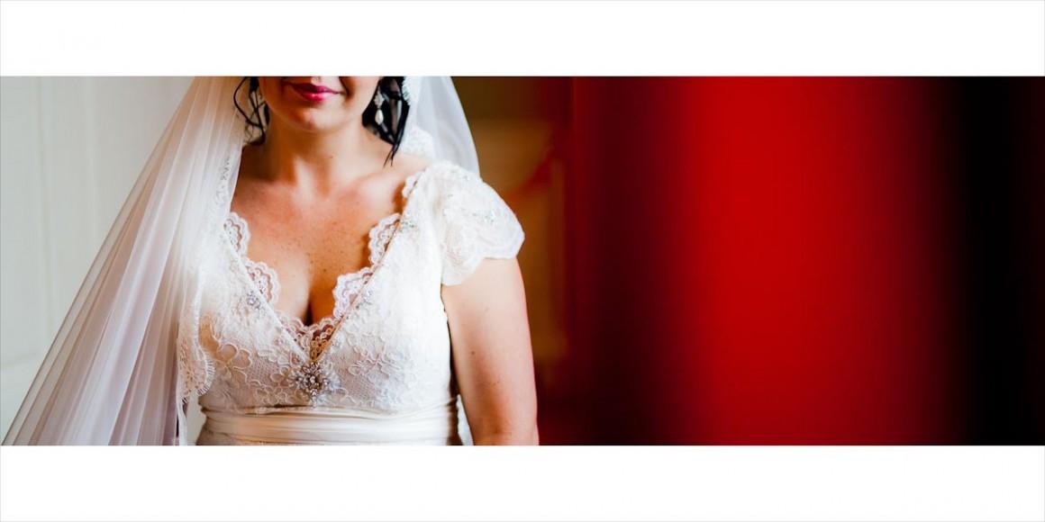 The bride's wedding dress top