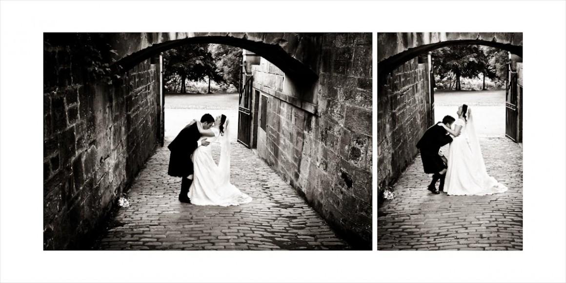The groom enjoying his wife fringed by a bridge