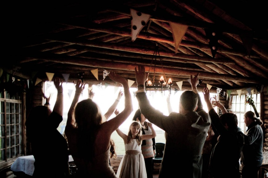 dancing at wedding reception at ravesheugh log cabin