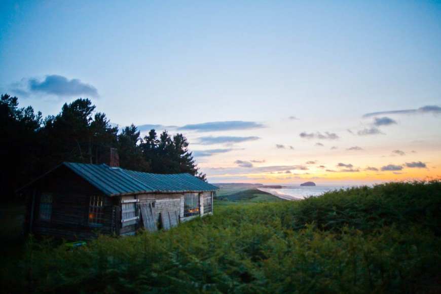 ravensheugh log cabin at sunset