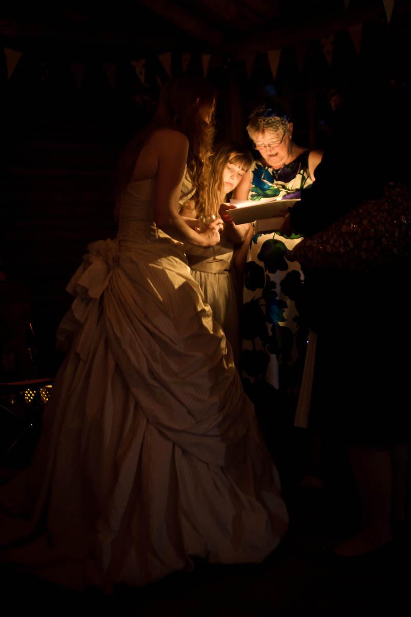 bride in dark with wedding guests