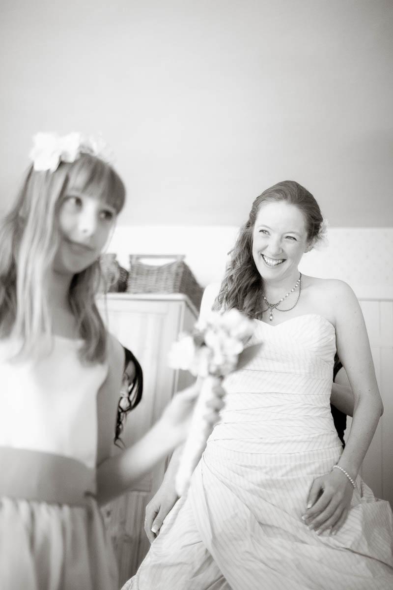 bride ad flower girl