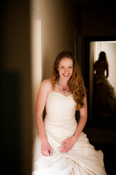 bride with red hair in dress