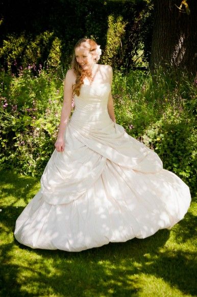 bride in dappled shade